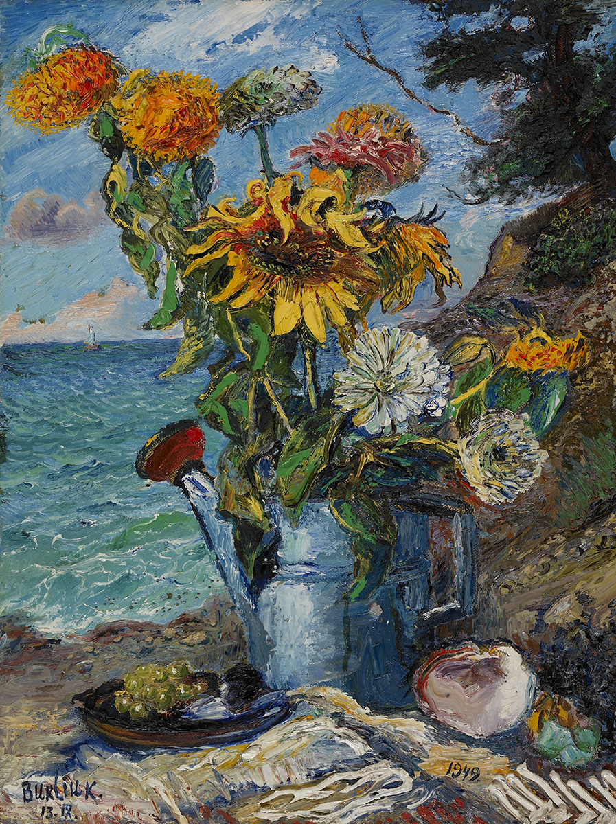 Cornucopia: Still Lifes from the Collection David Burliuk Fall Flowers in a Watering Can . 1949.