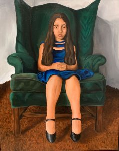 Long Island's Best 2020 Ramirez-Micarlys--Ydelim-in-a-Green-Chair--Acrylic-on-canvas