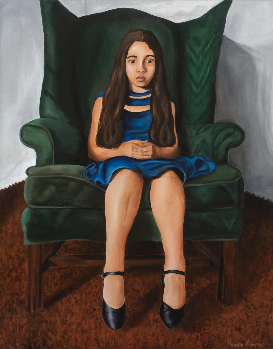 Long Islands Best 2020 Ramirez, Micarlys_Brentwood HS_Ydelim in a Green Chair_Acrylic on canvas